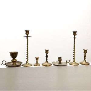 Other - Set of 7 vintage assorted brass candesticks